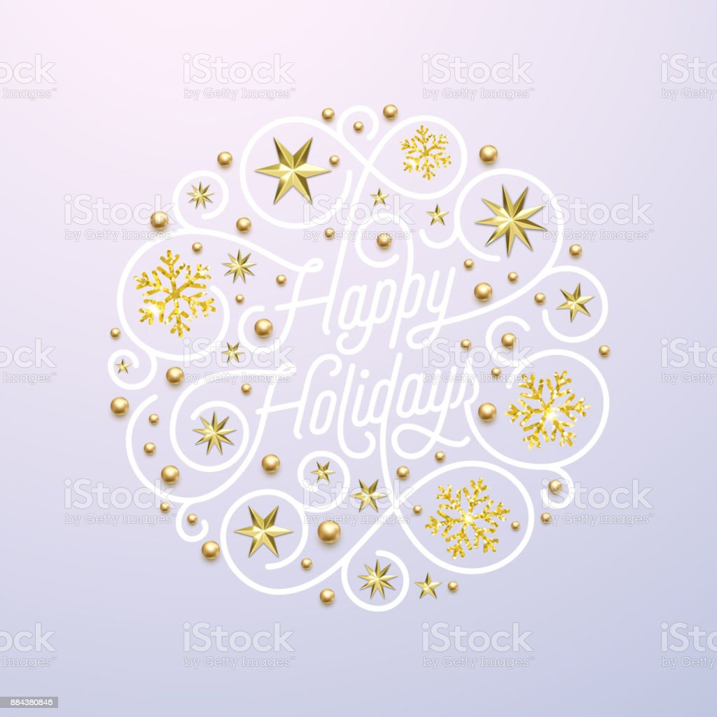 Happy Holidays Calligraphy Lettering And Golden Snowflake Star ...