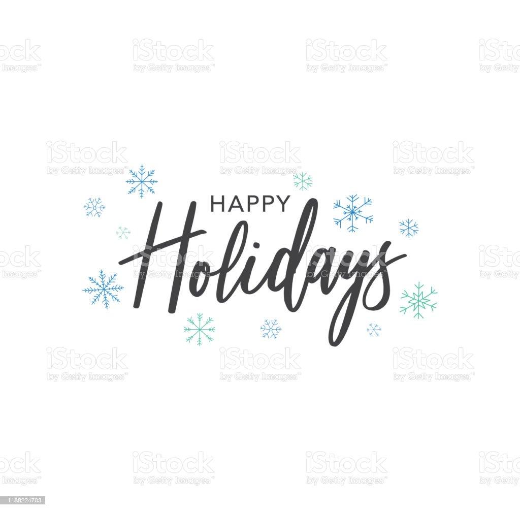 Счастливые праздники Каллиграфия Вектор Текст с рук обращается голубые снежинки над белым фоном - Векторная графика Ёлочные игрушки роялти-фри