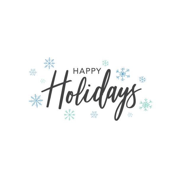 ilustrações de stock, clip art, desenhos animados e ícones de happy holidays calligraphy vector text with hand drawn blue snowflakes over white background - texto