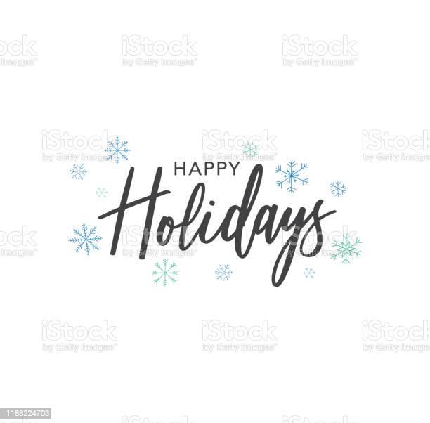 해피 홀리데이 서예 벡터 텍스트 손으로 그린 파란색 눈송이 위에 흰색 배경 12월에 대한 스톡 벡터 아트 및 기타 이미지