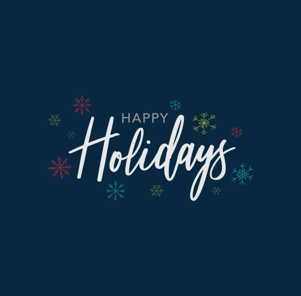 happy holidays calligraphy vector text with hand drawn snowflakes over dark blue background - holiday stock illustrations, clip art, cartoons, & icons