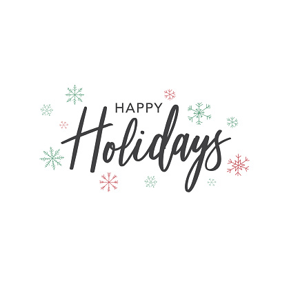 Happy Holidays Calligraphy Vector Text With Hand Drawn Snowflakes Over White