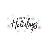 Happy Holidays Calligraphy Vector Text With Colorful Hand Drawn Snowflakes Over White Background