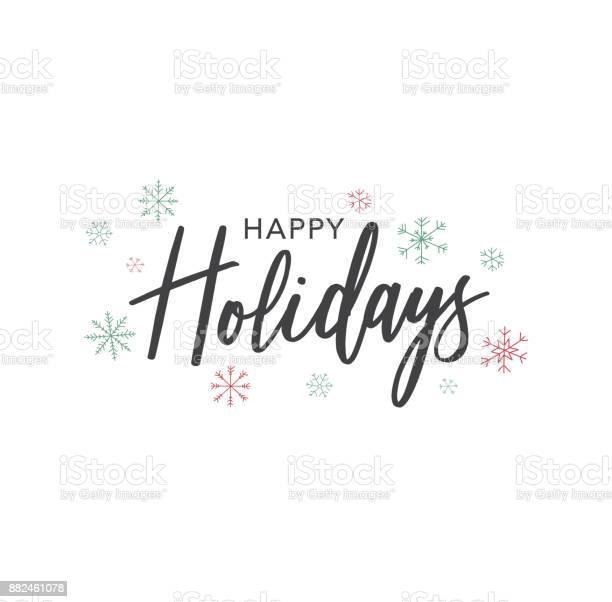 해피 홀리데이 손으로 서 벡터 텍스트 흰색 위에 눈송이 그려 12월에 대한 스톡 벡터 아트 및 기타 이미지