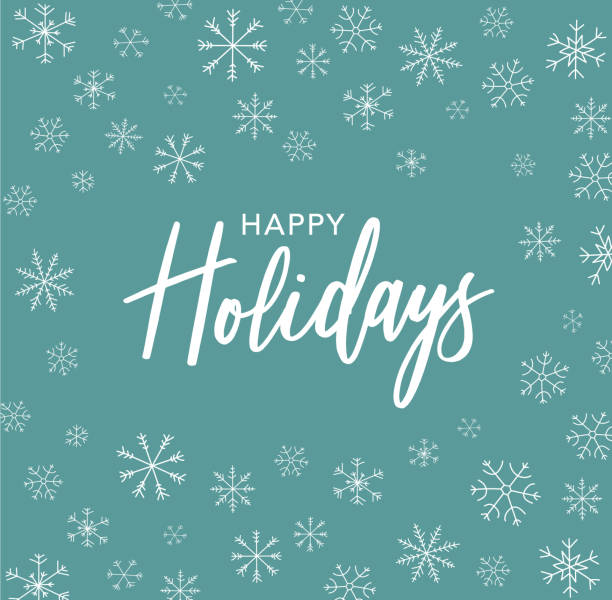 愉快的假日書法用手繪線藝術雪花 - happy holidays 幅插畫檔、美工圖案、卡通及圖標