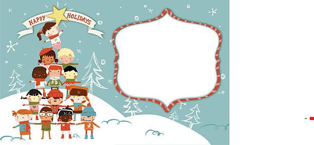 frohe weihnachten-karte - wunschkinder stock-grafiken, -clipart, -cartoons und -symbole