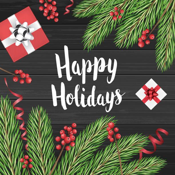 happy holidays card with christmas decoration - happy holidays stock illustrations, clip art, cartoons, & icons