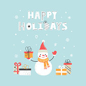 Happy holidays card with hand drawn cute snowmen, gift box, holiday elements and lettering. Christmas card. Flat cartoon style. New Year greeting card, poster, banner.  Vector illustration
