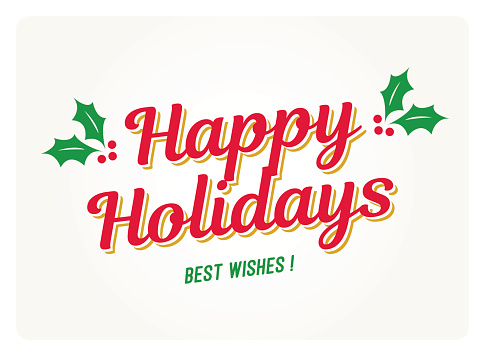 Happy holidays card with mistletoes.