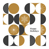 Happy holidays card with modern geometric background. Stock illustration