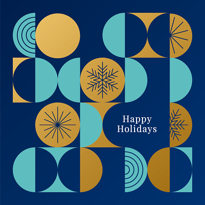 Happy holidays card with modern geometric background.