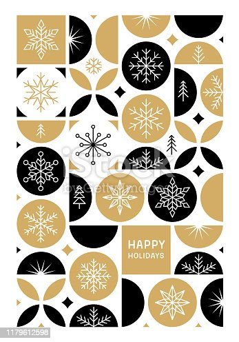 istock Happy holidays card with snowflakes 1179612598