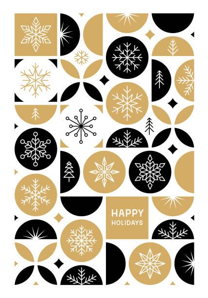 ilustrações, clipart, desenhos animados e ícones de cartão feliz dos feriados com flocos de neve - christmas pattern