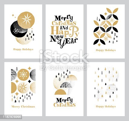 istock Happy holidays cards collection 1182926995