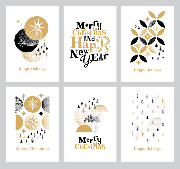 ilustrações, clipart, desenhos animados e ícones de coleção feliz dos cartões dos feriados - font
