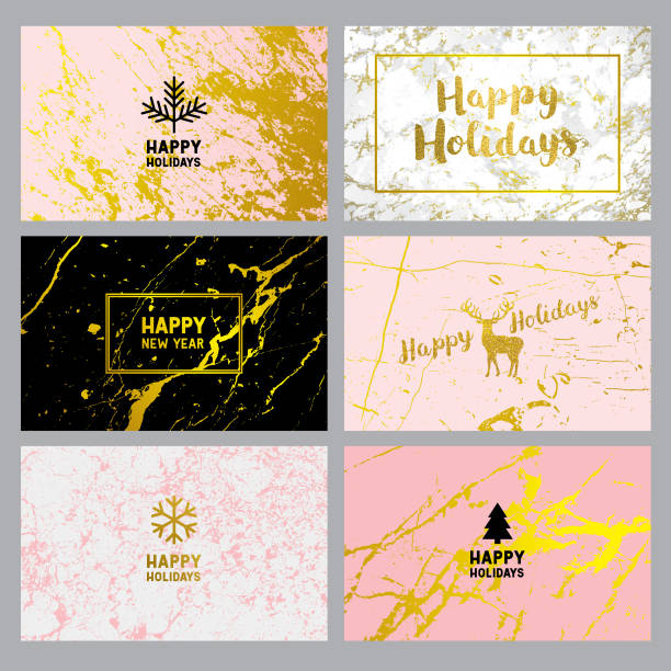 Happy holidays cards on marble backgrounds vector art illustration