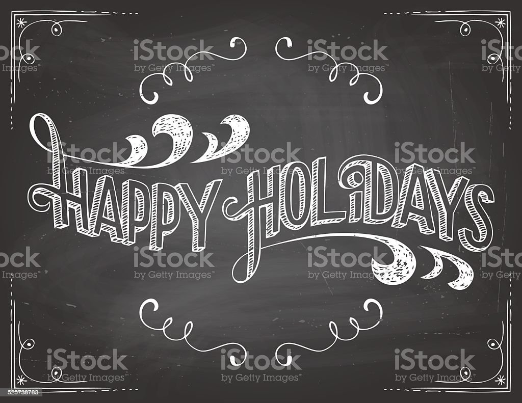 Happy Holidays chalkboard vector art illustration