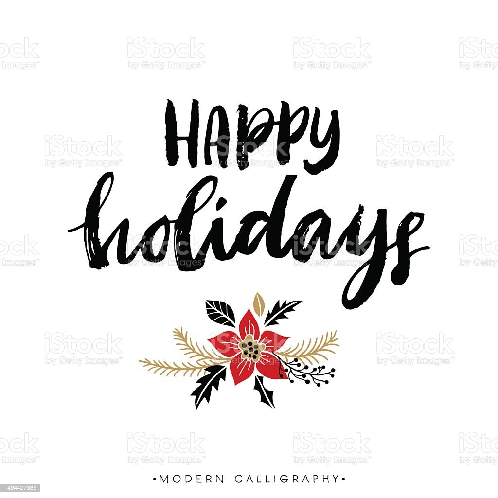 Happy Holidays. Christmas calligraphy. vector art illustration