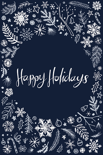Happy holidays Christmas doodles illustration