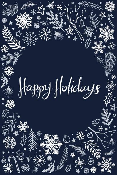 frohe feiertage weihnachten doodles illustration - weihnachtsmarkt stock-grafiken, -clipart, -cartoons und -symbole