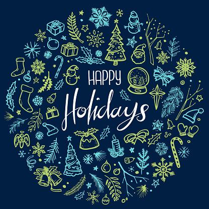 Happy holidays Christmas illustration