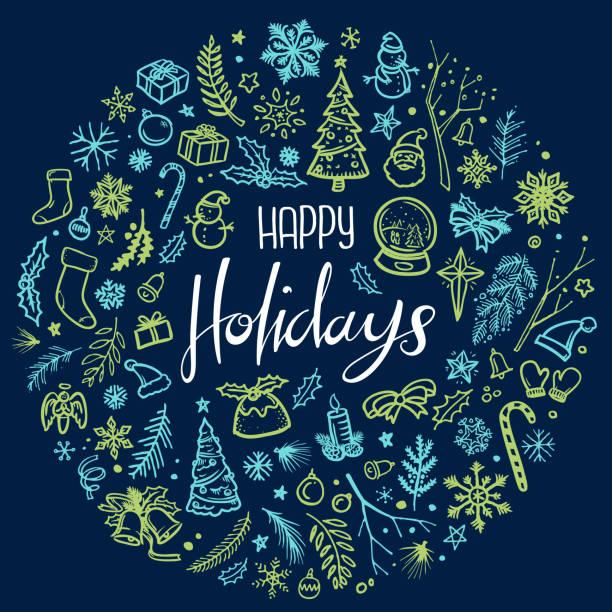 Happy holidays Christmas illustration vector art illustration