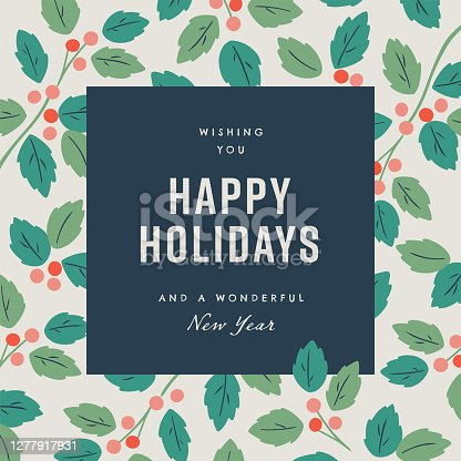 istock Happy holidays design template with hand-drawn vector winter botanical graphics 1277917931