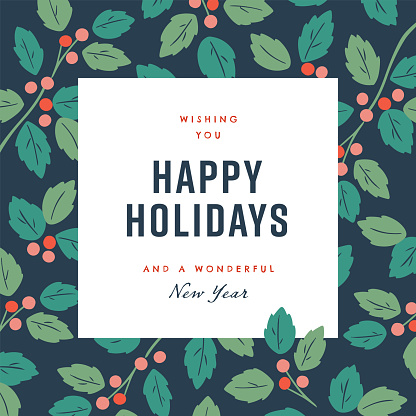 Happy holidays design template with hand-drawn vector winter botanical graphics