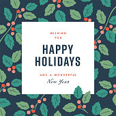 istock Happy holidays design template with hand-drawn vector winter botanical graphics 1277917954