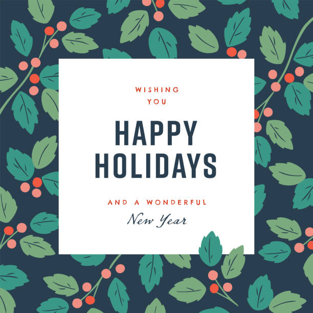 快樂假期設計範本與手繪向量冬季植物圖形。 - happy holidays 幅插畫檔、美工圖案、卡通及圖標