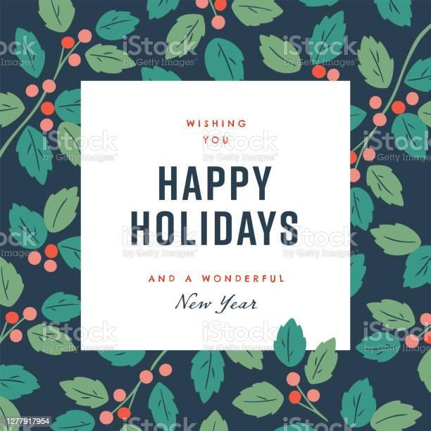 Happy Holidays Design Template With Handdrawn Vector Winter Botanical Graphics — стоковая векторная графика и другие изображения на тему Без людей