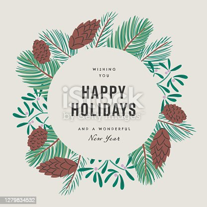 istock Happy holidays design template with hand-drawn vector winter botanical graphics 1279834532