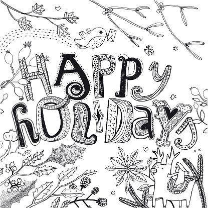Happy Holidays design with holly, robin, santa and reindeer