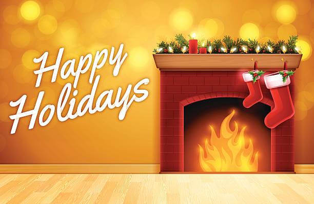 ilustrações de stock, clip art, desenhos animados e ícones de feliz natal lareira - braseiro