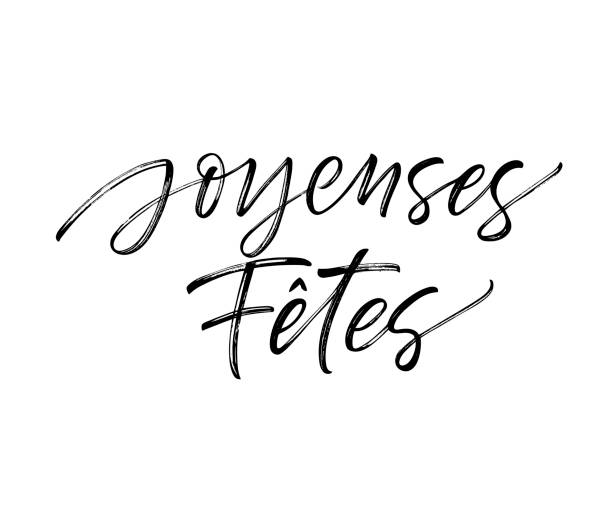 joyeuses fêtes french card. - cheerful stock illustrations