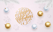 Happy Holidays golden decoration, hand drawn gold calligraphy font for greeting card white background. Vector Christmas or New Year gold star shiny confetti for winter holiday premium Xmas decoration