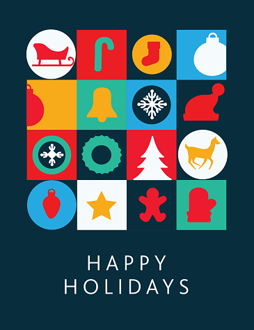 Happy Holidays Greeting card flat design template with geometric shapes and simple icons