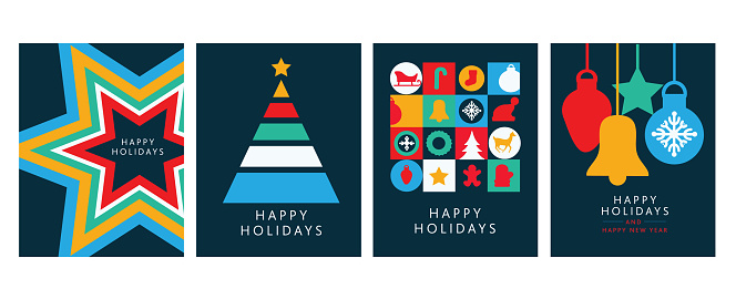 Happy Holidays Greeting card flat design templates with geometric shapes and simple icons