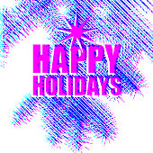 Happy Holidays greeting card on fir branch background color chanel style