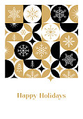 Christmas card with snowflakes. Modern geometric background. Easily editable flat vector illustration on layers.