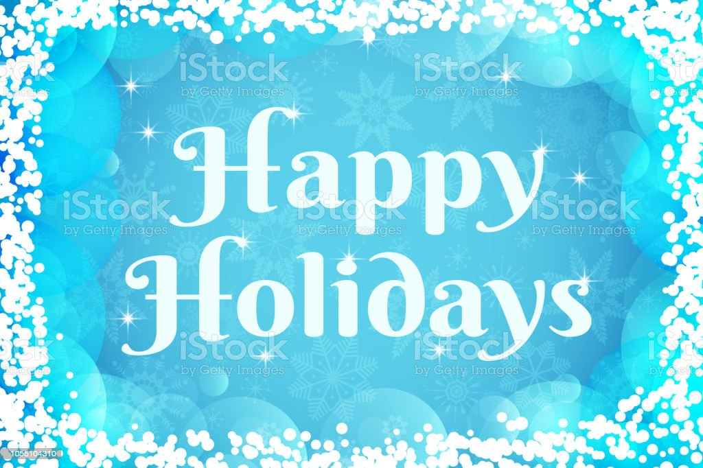 Happy Holidaysgrußkarte Wintervektorhintergrund Hellen Blauen Und ...