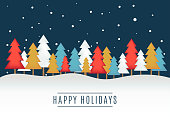 Happy Holidays greeting card with Christmas trees. Vector illustration. EPS10