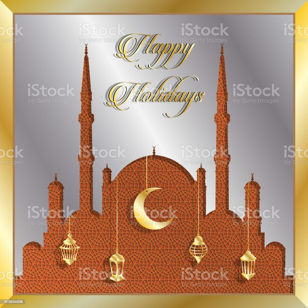 Glückliche Feiertage Grusskarte mit Silber Moschee und gold Laternen – Vektorgrafik