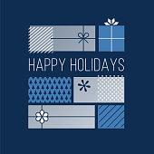 Happy Holidays Greeting Cards. - Illustration