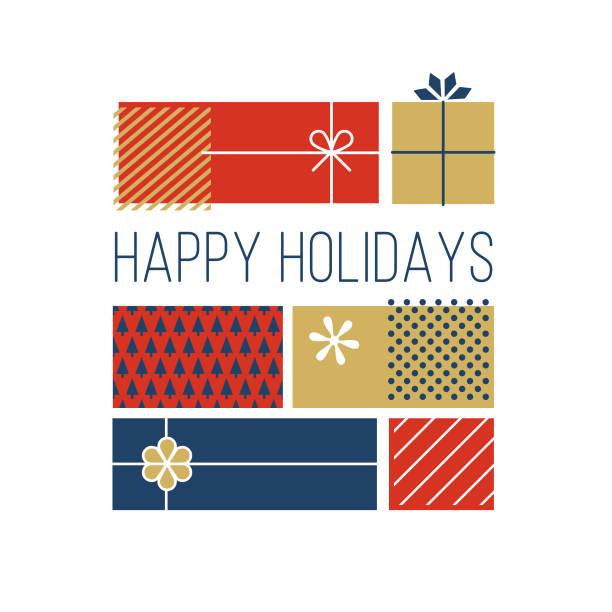illustrazioni stock, clip art, cartoni animati e icone di tendenza di happy holidays greeting cards. - regalo natale