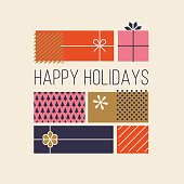 Happy Holidays Greeting Cards with Gift Boxes. Stock illustration