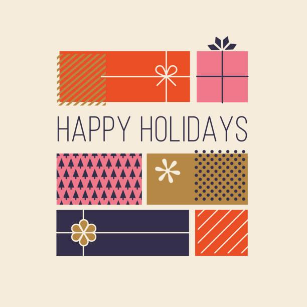 illustrazioni stock, clip art, cartoni animati e icone di tendenza di biglietti d'auguri happy holidays con scatole regalo. - regalo natale