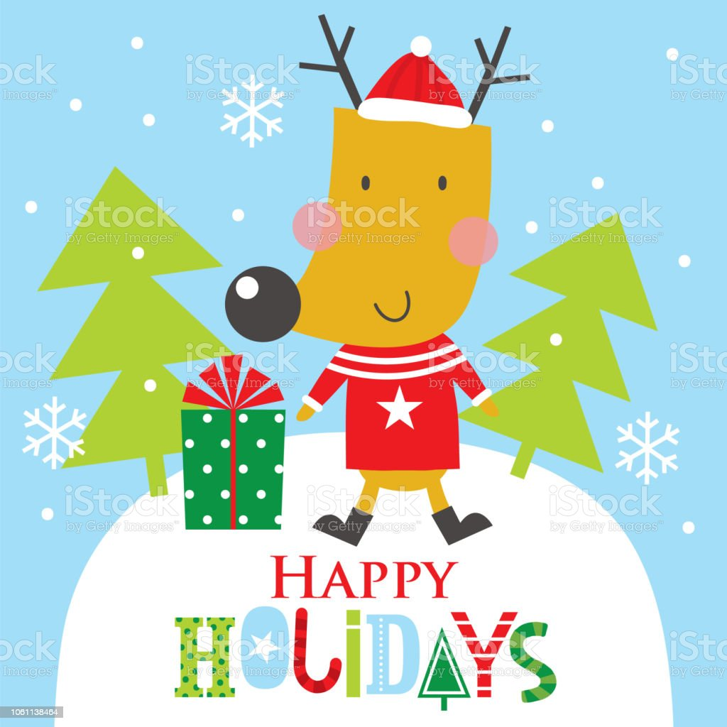 Happy Holidays Greeting From Reindeer Stock Vector Art & More Images ...