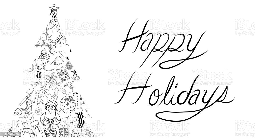 Vector Illustration of a holiday greeting with a Christmas Tree shape...