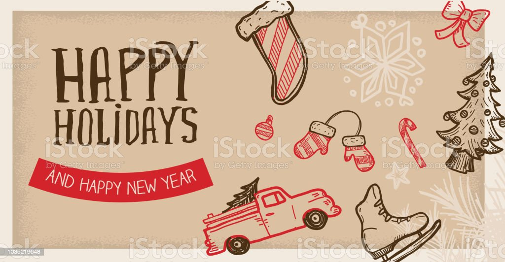 Happy Holidays Greeting web banner design template vector art illustration